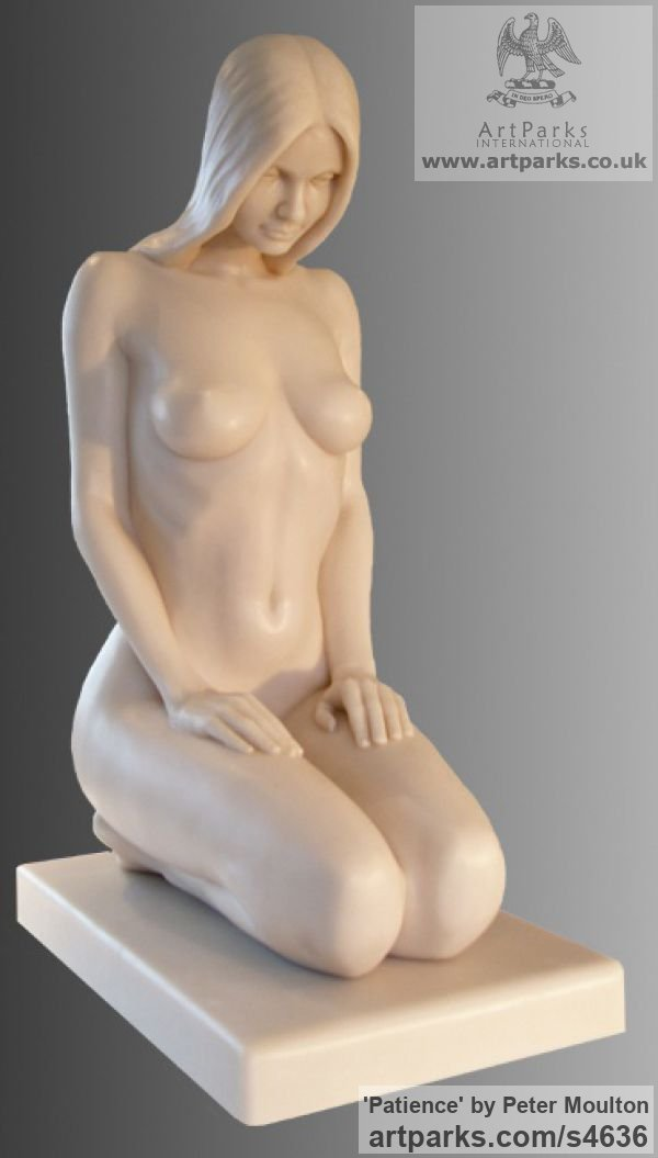 Bonded Onyx Portrait Sculptures / Commission or Bespoke or Customised sculpture by sculptor Peter Moulton titled: 'Patience (Little Lovely Girl Kneeling Naked Waiting statues/statuette)'