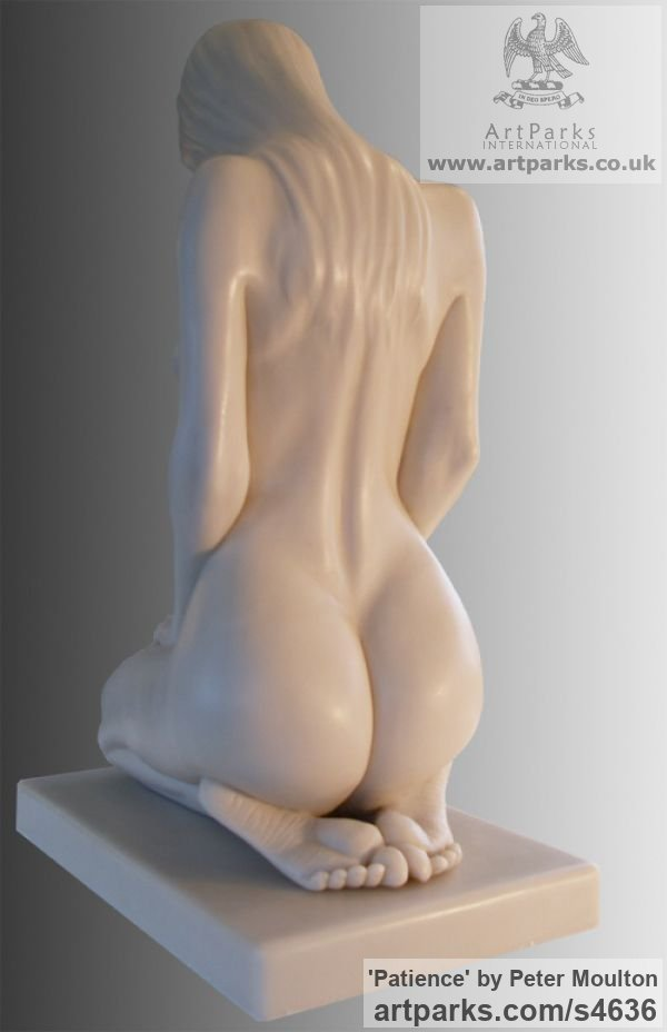 Bonded Onyx Portrait Sculptures / Commission or Bespoke or Customised sculpture by sculptor Peter Moulton titled: 'Patience (Little Lovely Girl Kneeling Naked Waiting statues/statuette)' - Artwork View 2