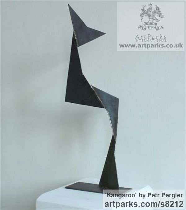 Metal Angular Abstract Modern Contemporary sculpture statuary sculpture by sculptor Petr Pergler titled: 'Kangaroo (Interior Modern abstract Steel statue)' - Artwork View 3