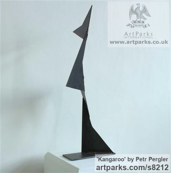 Metal Angular Abstract Modern Contemporary sculpture statuary sculpture by sculptor Petr Pergler titled: 'Kangaroo (Interior Modern abstract Steel statue)' - Artwork View 4