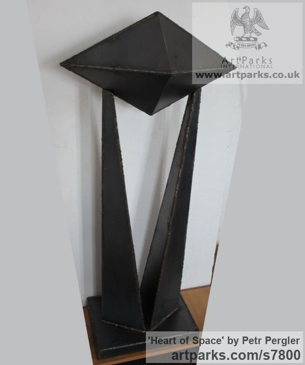 Metal Abstract Contemporary Modern Outdoor Outside Garden / Yard sculpture statuary sculpture by sculptor Petr Pergler titled: 'Heart of Space (Tall Modern abstract Contemporary Steel garden statue)' - Artwork View 4