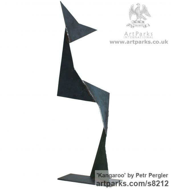 Metal Angular Abstract Modern Contemporary sculpture statuary sculpture by sculptor Petr Pergler titled: 'Kangaroo (Interior Modern abstract Steel statue)' - Artwork View 1