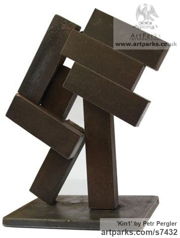 Metal Square Rectangular Cube shaped Abstract sculpture sculpture by sculptor Petr Pergler titled: 'Kin1 (Modern Contemporary abstract Little Objet Trouve statue)'