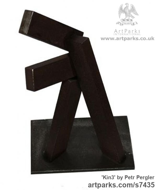 Metal Angular Abstract Modern Contemporary sculpture statuary sculpture by sculptor Petr Pergler titled: 'Kin3 (Contemporary Repetitive Shape Steel Block Scrap Metal statue)' - Artwork View 2