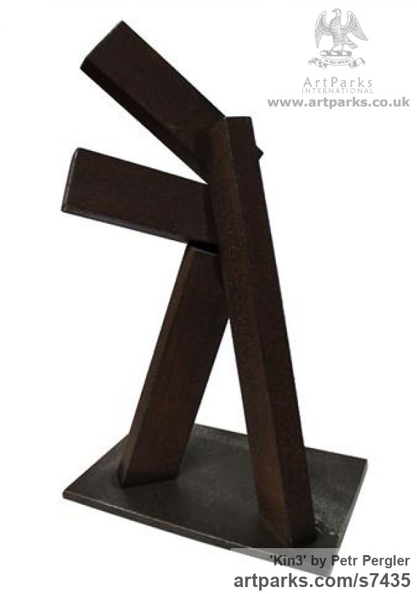 Metal Angular Abstract Modern Contemporary sculpture statuary sculpture by sculptor Petr Pergler titled: 'Kin3 (Contemporary Repetitive Shape Steel Block Scrap Metal statue)' - Artwork View 3