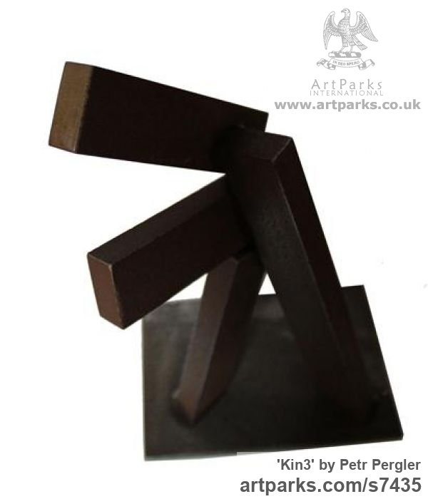 Metal Angular Abstract Modern Contemporary sculpture statuary sculpture by sculptor Petr Pergler titled: 'Kin3 (Contemporary Repetitive Shape Steel Block Scrap Metal statue)' - Artwork View 4