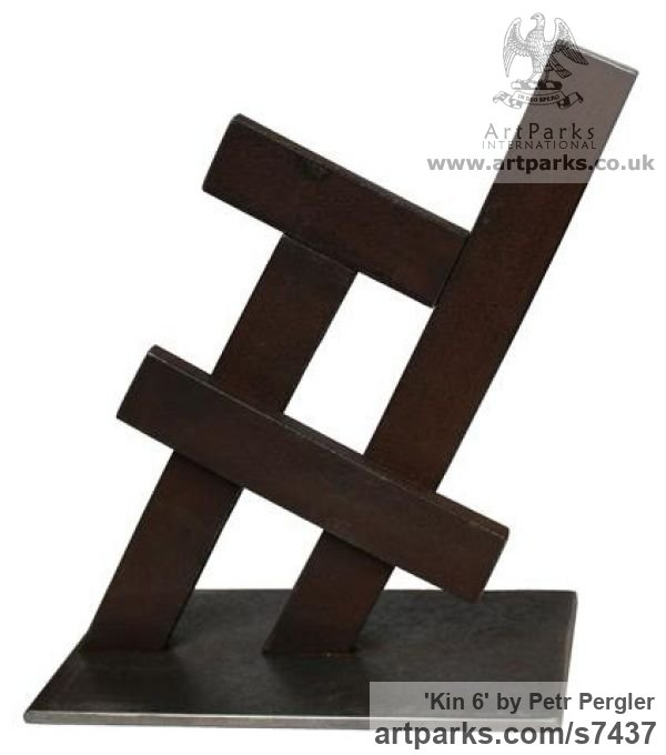 Metal Square Rectangular Cube shaped Abstract sculpture sculpture by sculptor Petr Pergler titled: 'Kin 6 (Little Indoor Contemporary abstract Modern Found Metal statue)'