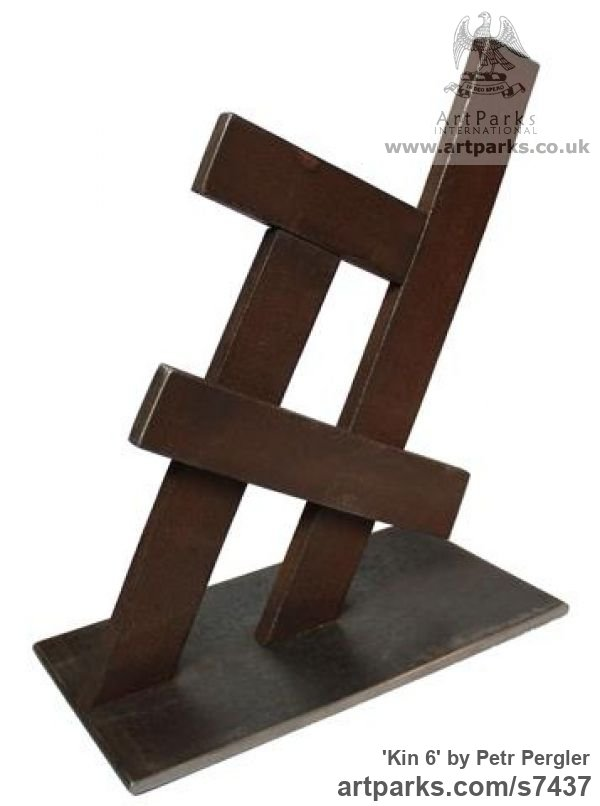Metal Square Rectangular Cube shaped Abstract sculpture sculpture by sculptor Petr Pergler titled: 'Kin 6 (Little Indoor Contemporary abstract Modern Found Metal statue)' - Artwork View 2