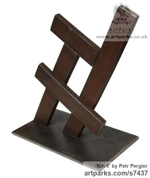 Metal Square Rectangular Cube shaped Abstract sculpture sculpture by sculptor Petr Pergler titled: 'Kin 6 (Little Indoor Contemporary abstract Modern Found Metal statue)' - Artwork View 3