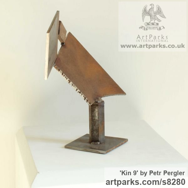Metal Fabricated Metal Abstract sculpture by sculptor Petr Pergler titled: 'Kin 9 (Little Indoor Contemporary abstract Modern Found Metal statue)' - Artwork View 2