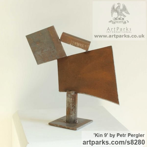 Metal Fabricated Metal Abstract sculpture by sculptor Petr Pergler titled: 'Kin 9 (Little Indoor Contemporary abstract Modern Found Metal statue)' - Artwork View 3