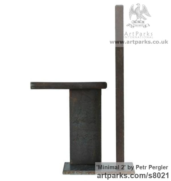 Rusty metal Angular Abstract Modern Contemporary sculpture statuary sculpture by sculptor Petr Pergler titled: 'Minimal 2 (Steel Modern Small Indoor Minimalist sculpture)'