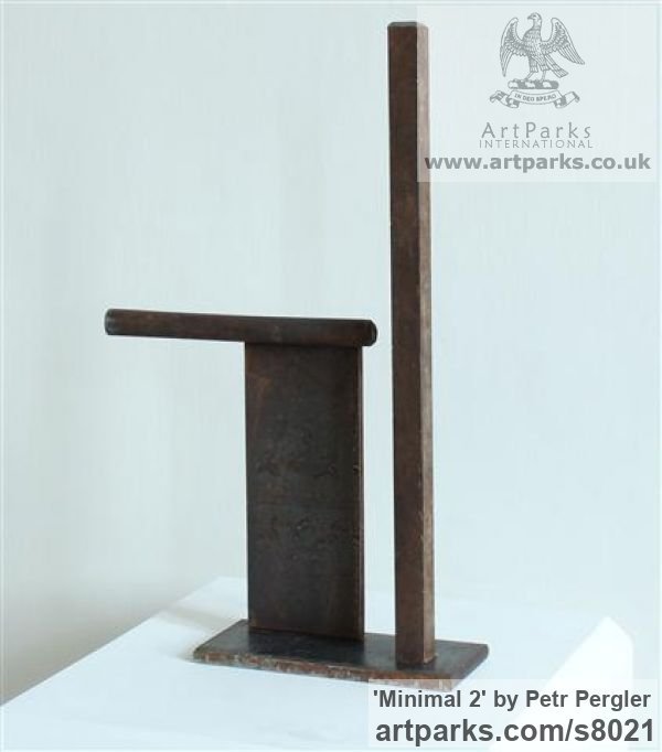 Rusty metal Angular Abstract Modern Contemporary sculpture statuary sculpture by sculptor Petr Pergler titled: 'Minimal 2 (Steel Modern Small Indoor Minimalist sculpture)' - Artwork View 2