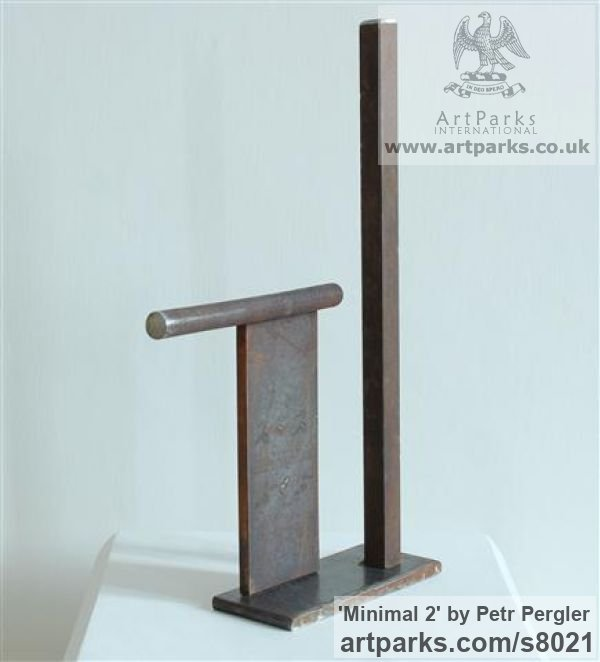 Rusty metal Angular Abstract Modern Contemporary sculpture statuary sculpture by sculptor Petr Pergler titled: 'Minimal 2 (Steel Modern Small Indoor Minimalist sculpture)' - Artwork View 3