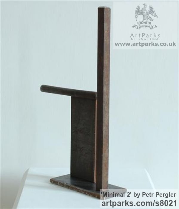 Rusty metal Angular Abstract Modern Contemporary sculpture statuary sculpture by sculptor Petr Pergler titled: 'Minimal 2 (Steel Modern Small Indoor Minimalist sculpture)' - Artwork View 4