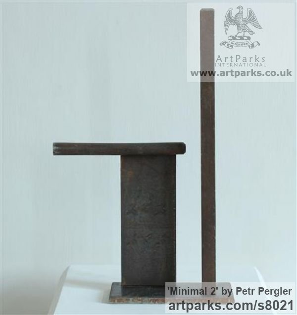 Rusty metal Angular Abstract Modern Contemporary sculpture statuary sculpture by sculptor Petr Pergler titled: 'Minimal 2 (Steel Modern Small Indoor Minimalist sculpture)' - Artwork View 5