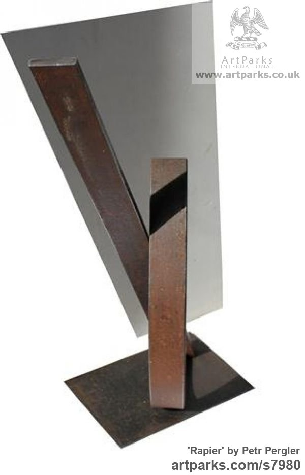 Rusty metal Fabricated Metal Abstract sculpture by sculptor Petr Pergler titled: 'Rapier (Small Little Interior Modern Industrial abstract Steel statue)' - Artwork View 3