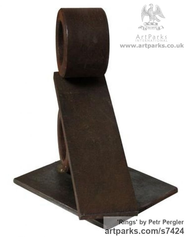 Metal Angular Abstract Modern Contemporary sculpture statuary sculpture by sculptor Petr Pergler titled: 'Rings (Minimalist Steel Metal Indoor sculpturette for sale)' - Artwork View 2