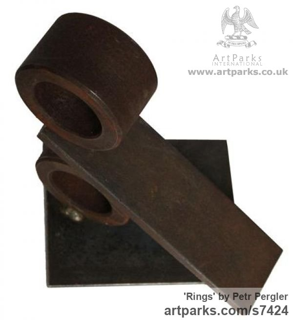 Metal Angular Abstract Modern Contemporary sculpture statuary sculpture by sculptor Petr Pergler titled: 'Rings (Minimalist Steel Metal Indoor sculpturette for sale)' - Artwork View 3
