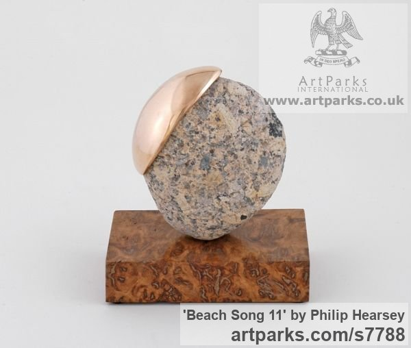 Bronze / stone Objets Trouve or Found Objects Sculptures or sculpture by sculptor Philip Hearsey titled: 'Beach Song 11 (abstract Spherical Round Indoor sculpture)'