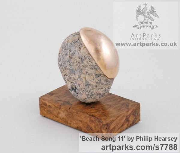 Bronze / stone Objets Trouve or Found Objects Sculptures or sculpture by sculptor Philip Hearsey titled: 'Beach Song 11 (abstract Spherical Round Indoor sculpture)' - Artwork View 2