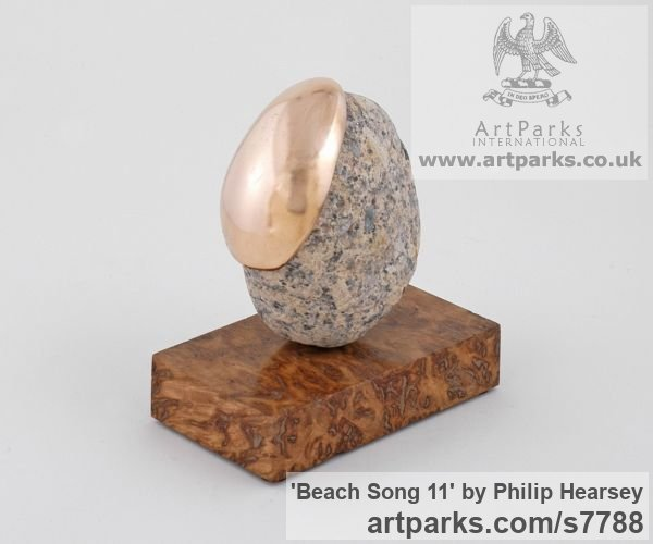 Bronze / stone Objets Trouve or Found Objects Sculptures or sculpture by sculptor Philip Hearsey titled: 'Beach Song 11 (abstract Spherical Round Indoor sculpture)' - Artwork View 3
