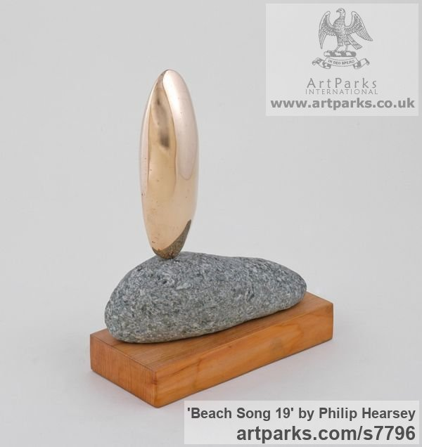 Bronze/stone/wood Focal Point Abstract Contemporary Modern sculpture sculpture by sculptor Philip Hearsey titled: 'Beach Song 19 (Bronze Pebble Indoor statuette)'