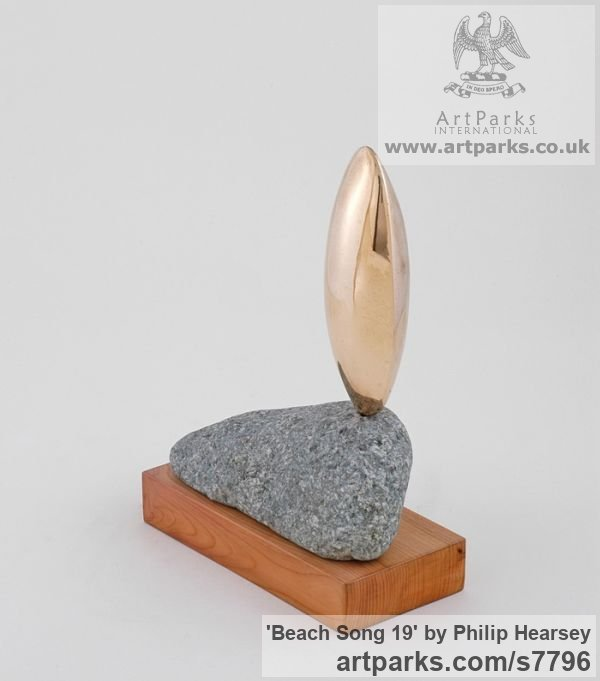 Bronze/stone/wood Focal Point Abstract Contemporary Modern sculpture sculpture by sculptor Philip Hearsey titled: 'Beach Song 19 (Bronze Pebble Indoor statuette)' - Artwork View 3