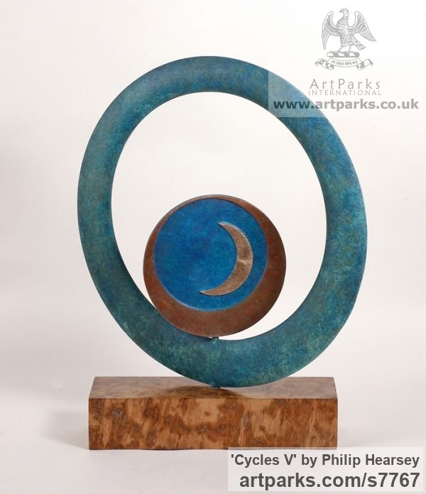 Bronze Round Disk, Dish, Flat Circular Ring Shaped Sculptures / sculpturette statuary sculpture by sculptor Philip Hearsey titled: 'Cycles V (Indoor Small abstract Contemporary Modern sculpture)'