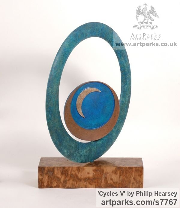 Bronze Round Disk, Dish, Flat Circular Ring Shaped Sculptures / sculpturette statuary sculpture by sculptor Philip Hearsey titled: 'Cycles V (Indoor Small abstract Contemporary Modern sculpture)' - Artwork View 4