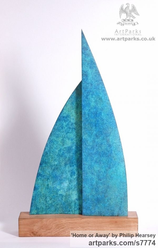 Bronze / wood Sails Spinnakers Jibs Maritime Nautical staues sculpture by sculptor Philip Hearsey titled: 'Home or Away (Bronze Sail Blue Boat Indoor statue)' - Artwork View 1