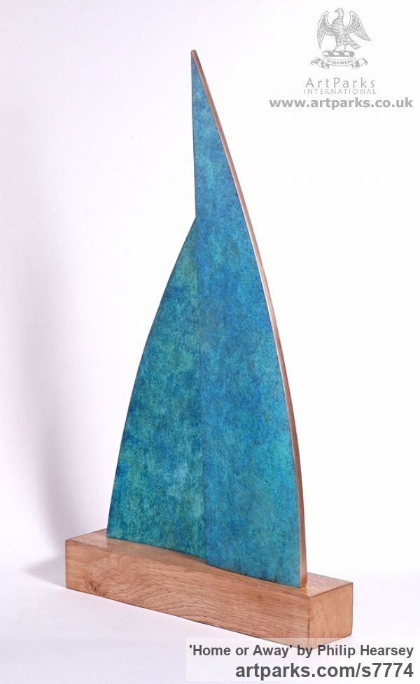 Bronze / wood Sails Spinnakers Jibs Maritime Nautical staues sculpture by sculptor Philip Hearsey titled: 'Home or Away (Bronze Sail Blue Boat Indoor statue)' - Artwork View 4
