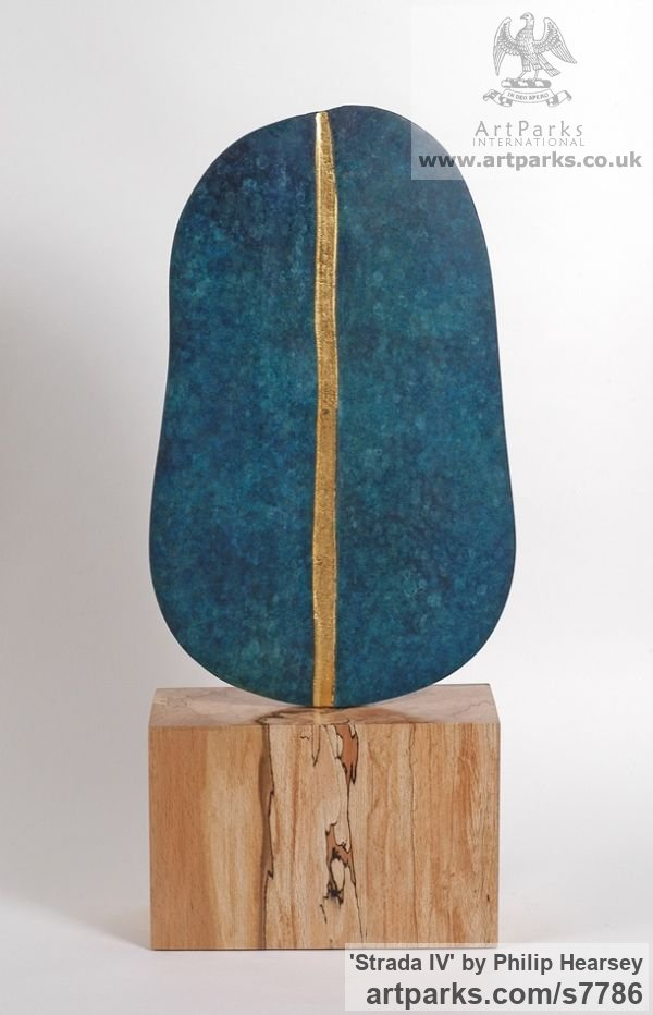 Bronze / wood Focal Point Abstract Contemporary Modern sculpture sculpture by sculptor Philip Hearsey titled: 'Strada IV (Minimalist Small Blue bronze Wood Interior sculpturette)'