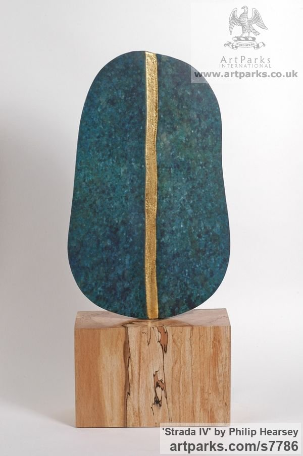 Bronze / wood Focal Point Abstract Contemporary Modern sculpture sculpture by sculptor Philip Hearsey titled: 'Strada IV (Minimalist Small Blue bronze Wood Interior sculpturette)' - Artwork View 2