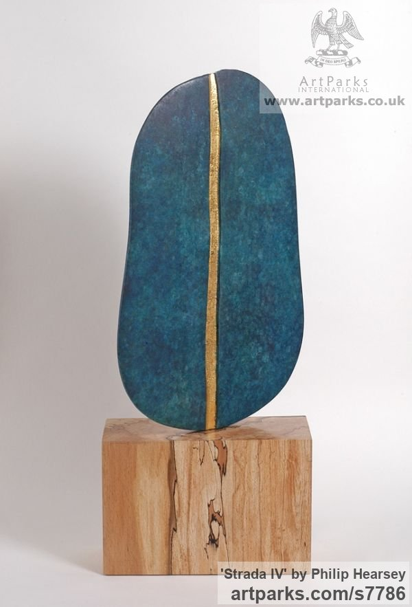 Bronze / wood Focal Point Abstract Contemporary Modern sculpture sculpture by sculptor Philip Hearsey titled: 'Strada IV (Minimalist Small Blue bronze Wood Interior sculpturette)' - Artwork View 3