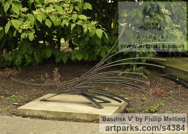 Steel Garden Or Yard / Outside and Outdoor sculpture by sculptor Philip Melling titled: 'Basilisk V' - Artwork View 3