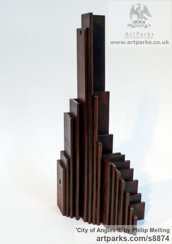 Steel Abstract Contemporary Modern Civic Urban sculpture statuary sculpture by sculptor Philip Melling titled: 'City of Angles II (Architectural Cubist Steel Tower statuette)' - Artwork View 1