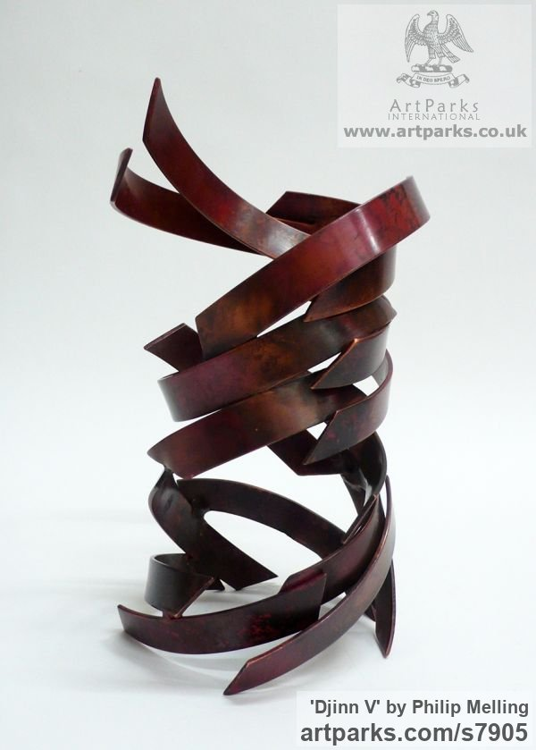 Copper Fabricated Metal Abstract sculpture by sculptor Philip Melling titled: 'Djinn V (Small abstract Patinated Copper Indoor Swirling statuettes)'