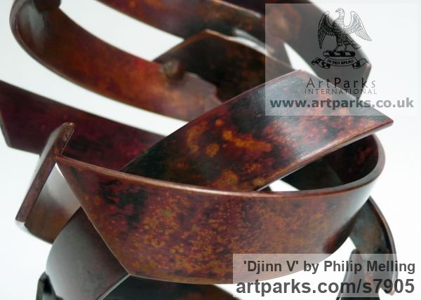 Copper Fabricated Metal Abstract sculpture by sculptor Philip Melling titled: 'Djinn V (Small abstract Patinated Copper Indoor Swirling statuettes)' - Artwork View 5