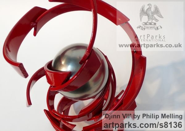 Steel/Stainless Steel Fabricated Metal Abstract sculpture by sculptor Philip Melling titled: 'Djinn VII (Vibrant Spirit of Wind and Fire abstract Contemporary statue)' - Artwork View 4