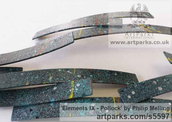 Steel Wall Mounted or Wall Hanging sculpture by sculptor Philip Melling titled: 'Elements IX - Pollock (Metal Contemporary abstract Wall sculpture)' - Artwork View 3
