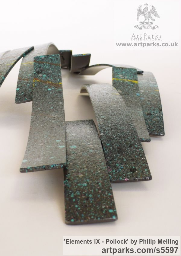 Steel Wall Mounted or Wall Hanging sculpture by sculptor Philip Melling titled: 'Elements IX - Pollock (Metal Contemporary abstract Wall sculpture)' - Artwork View 4