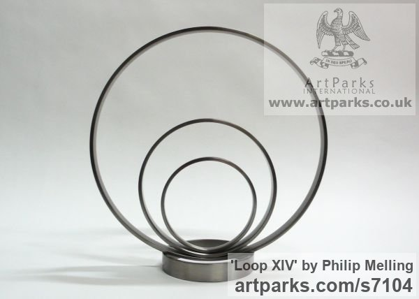 Stainless steel Abstract Contemporary or Modern Outdoor Outside Exterior Garden / Yard sculpture statuary sculpture by sculptor Philip Melling titled: 'Loop XIV (stainless Steel Concentric Rings sculpture)' - Artwork View 2