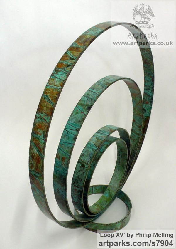 Copper Fabricated Metal Abstract sculpture by sculptor Philip Melling titled: 'Loop XV (Concentric Circles Copper abstract sculptures)'