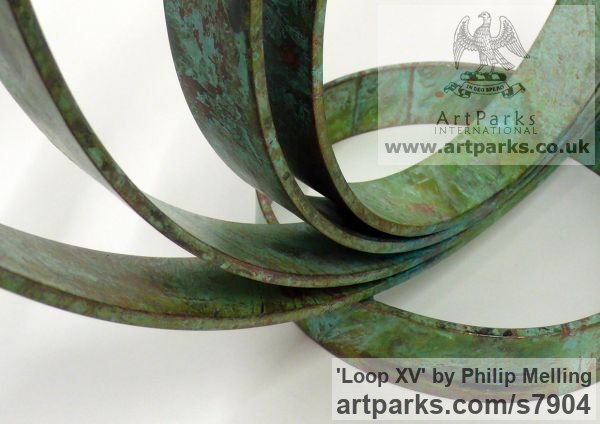 Copper Fabricated Metal Abstract sculpture by sculptor Philip Melling titled: 'Loop XV (Concentric Circles Copper abstract sculptures)' - Artwork View 2