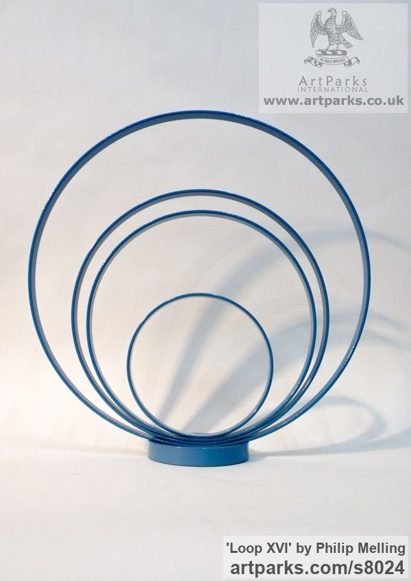 Steel Focal Point Abstract Contemporary Modern sculpture sculpture by sculptor Philip Melling titled: 'Loop XVI (Concentric Circles blue abstract sculptures)'