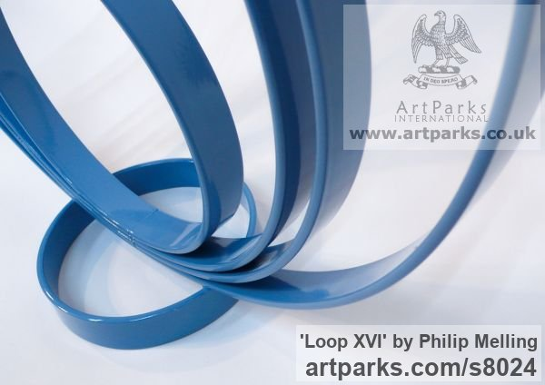 Steel Focal Point Abstract Contemporary Modern sculpture sculpture by sculptor Philip Melling titled: 'Loop XVI (Concentric Circles blue abstract sculptures)' - Artwork View 2