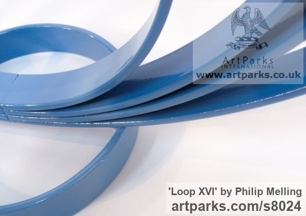 Steel Focal Point Abstract Contemporary Modern sculpture sculpture by sculptor Philip Melling titled: 'Loop XVI (Concentric Circles blue abstract sculptures)' - Artwork View 4