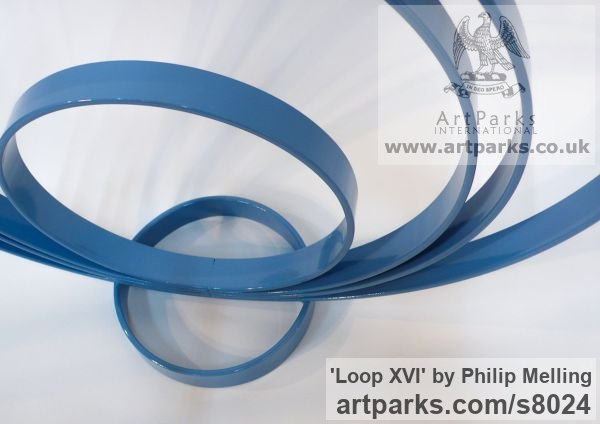 Steel Focal Point Abstract Contemporary Modern sculpture sculpture by sculptor Philip Melling titled: 'Loop XVI (Concentric Circles blue abstract sculptures)' - Artwork View 5