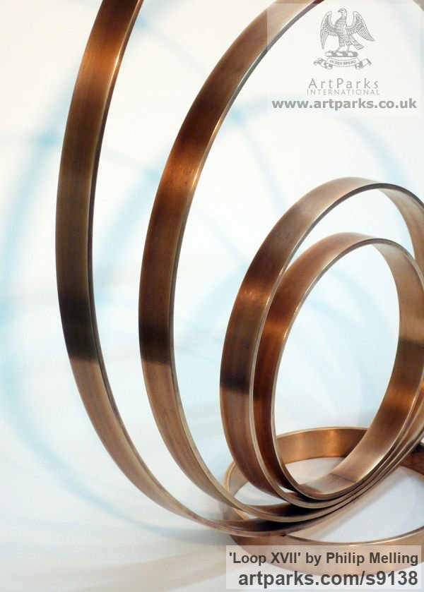Bronze Fabricated Metal Abstract sculpture by sculptor Philip Melling titled: 'Loop XVII (Concentric Circles Bronze abstract sculptures)'